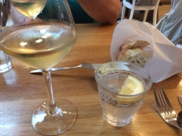 Wine and water with bread @ The Seafood Bar