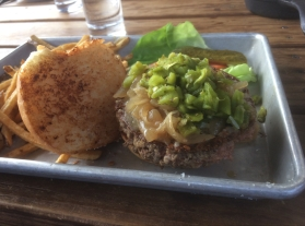 Impossible Burger with fries @ Rowley's Farmhouse Ales