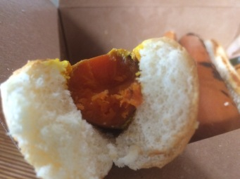 A close up of Acre's carrot hot dog