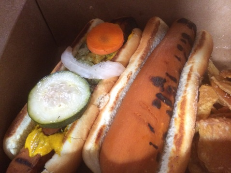 Another view of the carrot hot dogs