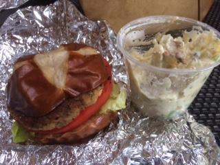 Crab Cakes on a Pretzel Bun with Vegan Potato Salad
