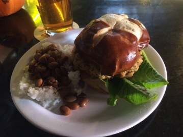 Root 66 Crabcake Burger with Red Beans and Rice