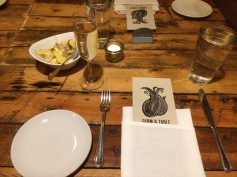 Our place setting at Farm & Table