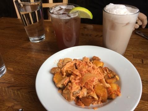 Kimchi Patatas Bravas with Cherry Limeade and Cherry Vanilla Soda