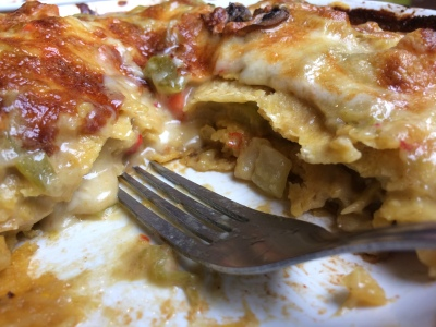 The inside of the Green Chile Vegetable Enchilada at Dr. Field Goods
