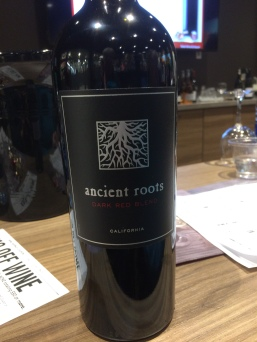 A bottle of Ancient Roots wine