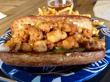 Blazing Barn's Shrimp Po'Boy with fries