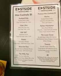 Eastside Distilling Menu